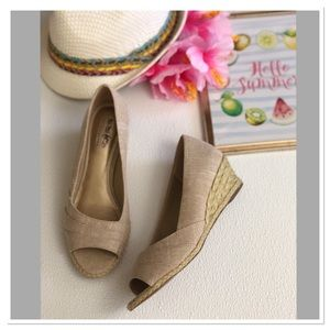 Coach and four peep toe espadrilles wedge sandals